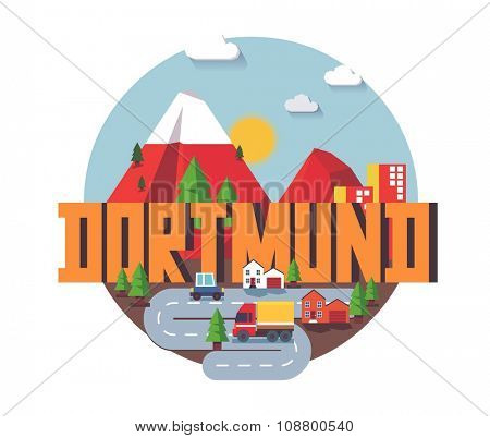Dortmund in germany is Beautiful city to visit on holiday, vector cartoon illustration