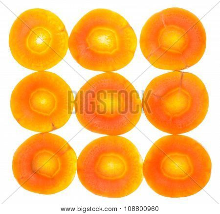 Square From Fresh Sliced Carrots Isolated