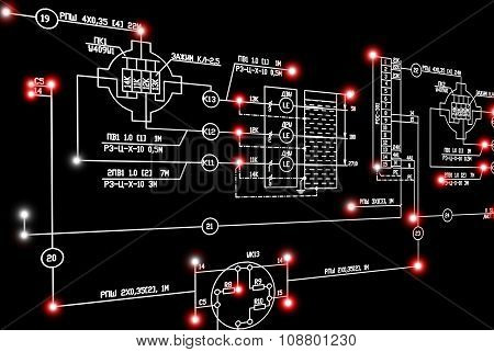 Engineering industrial electrical scheme with red luminescence on black background.