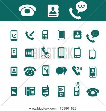 phone, telephone, cell  icons, signs vector concept set for infographics, mobile, website, application