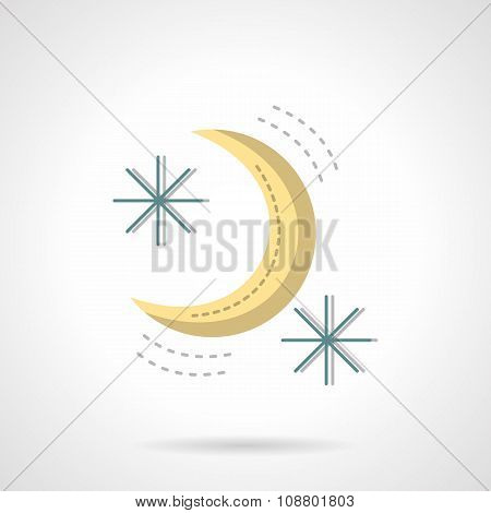 Moon and stars abstract flat color vector icon