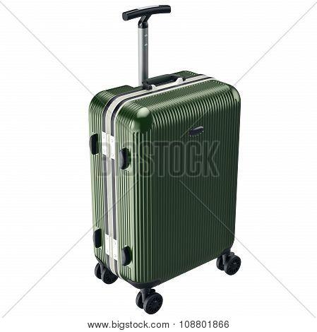 Green luggage on wheels