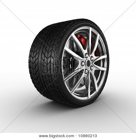 Tire and alloy wheel - 3d render