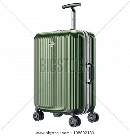 Green metal luggage for travel