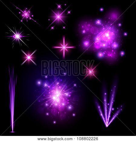 Festive purple firework set isolated on black background. Vector illustration.
