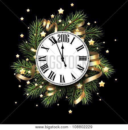 2016 New Year card with clock. Vector illustration.