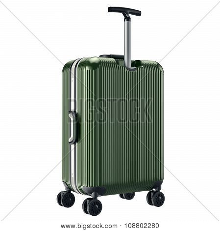 Luggage green with long handle