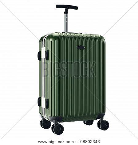 Green metallic luggage