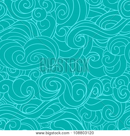 Blue waving curls similar to winter frosty window or marine, sea pattern, ocean.
