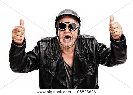 Overjoyed senior biker in black leather jacket giving two thumbs up isolated on white background