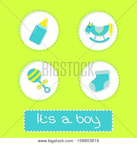 Baby Boy Shower Card With Bottle, Horse, Rattle And Sock.