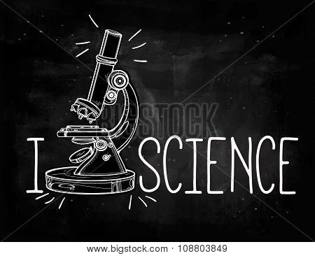 Hand drawn science laboratory microscope icon.