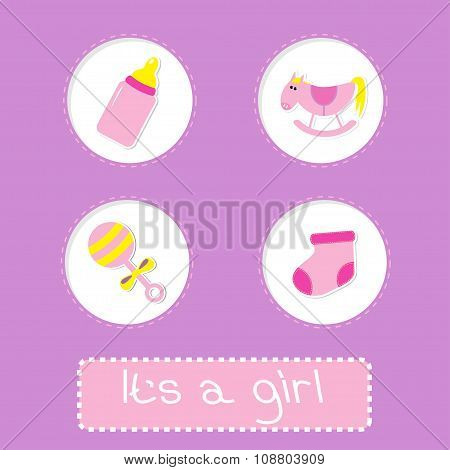 Baby Girl Shower Card With Bottle, Horse, Rattle And Sock.