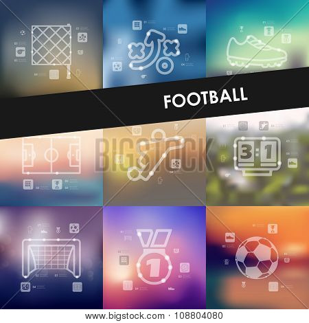 football timeline infographics with blurred background