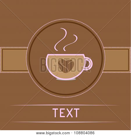 Cup And Coffee Beans Heart. Pink Text. Card.