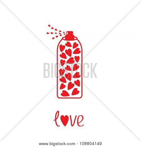 Deodorant, Spray With Hearts Inside. Card