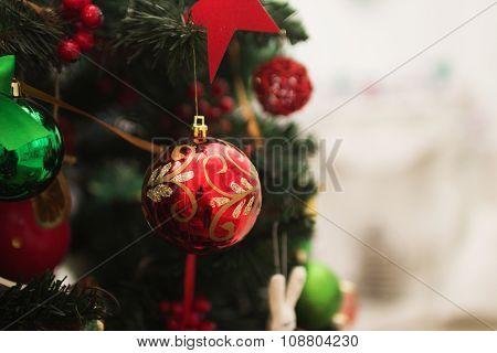 Christmas-tree toy on the Christmas tree close