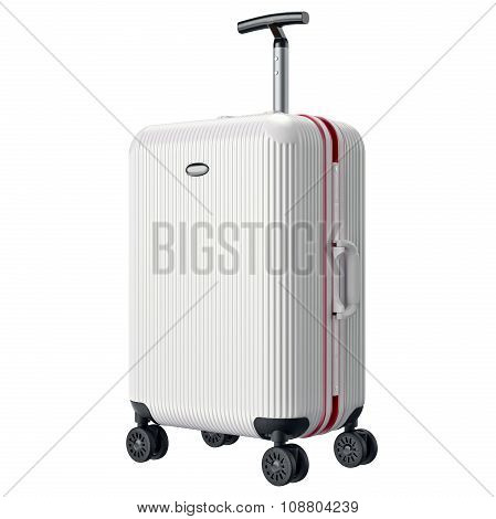 White metal luggage for travel