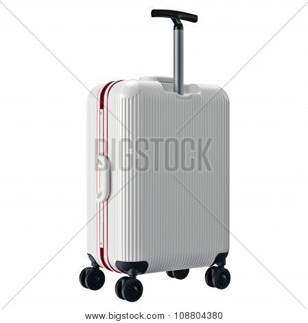 Luggage white with long handle