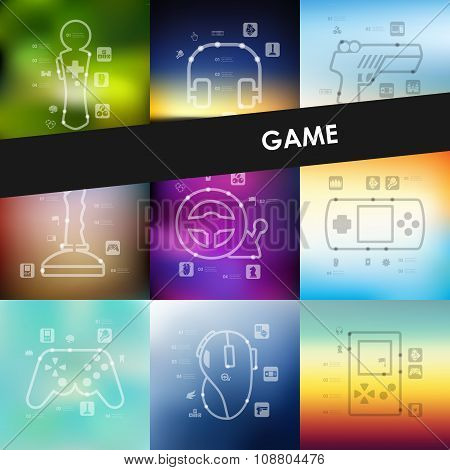 gaming timeline infographics with blurred background
