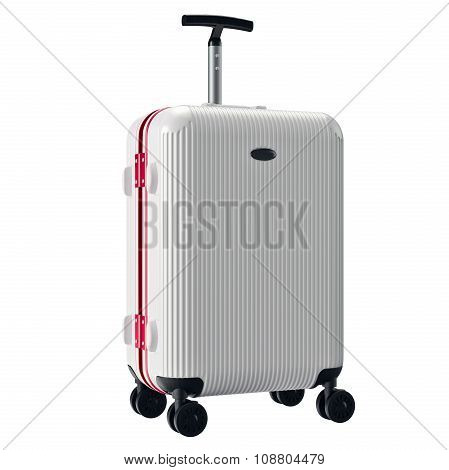 White metallic luggage