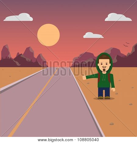 Hitchhiking. A man with a backpack hiker. Mountain landscape and sunset