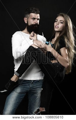 Man And Woman With Scissors