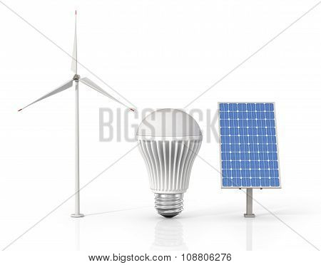 Concept Of Green Energy. Wind Tower, Led Light Bulb And Solar Energy Panel Isolated On A White Backg