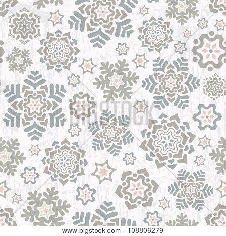 Seamless Pattern With Beautiful Snowflakes