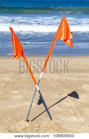 Forbidden Sign At Beautiful Hermosa Beach