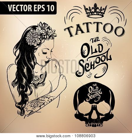 Tattoo girl old school studio skull