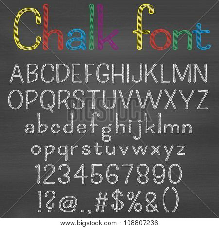 Hand drawn font on chalk background. Alphabet, numbers, punctuation marks. One letter, one compound