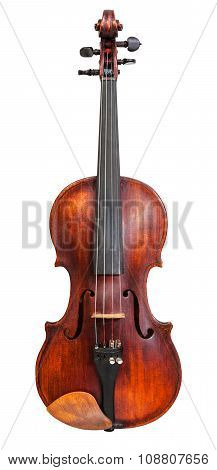 Front View Of Standard Full Size Violin Isolated