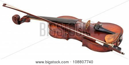 Full Size Violin With Wooden Chinrest And Bow