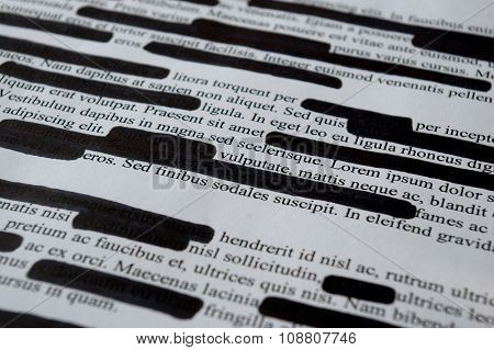 Lorem Ipsum text that has been redacted
