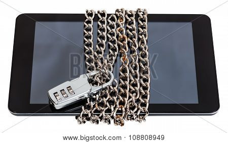 Tablet Chained And Closed By Combination Lock