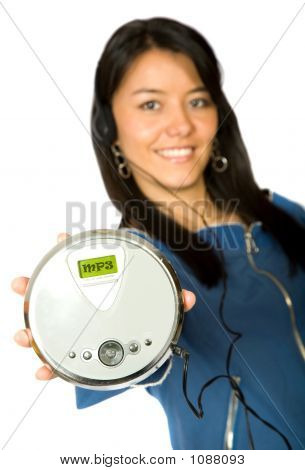 Girl Listening To Mp3 Music
