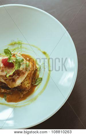 Exquisite Dish In Hotel Restaurant