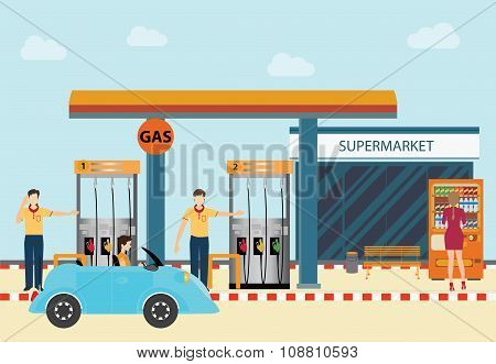 Gas Petroleum Petrol Refill Station Cars And Customers.