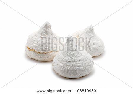 Three White French Meringues