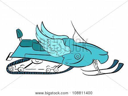 Conceptual winged snowmobile
