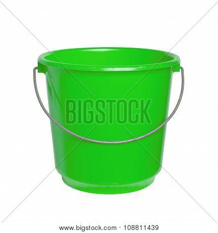Single Green Bucket Isolated