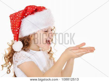 Little Girl In Santa Hat.