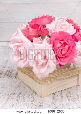 Pink And Pale Pink Roses Bouquet In The Wooden Box
