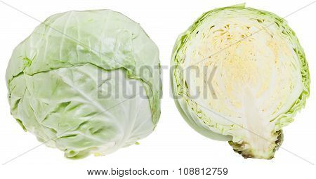 Whole And Half Of Fresh Cabbage Head Isolated