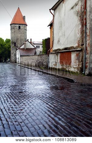 After the rain. Street and tower of a city wall. Old city. Tallinn Estonia.