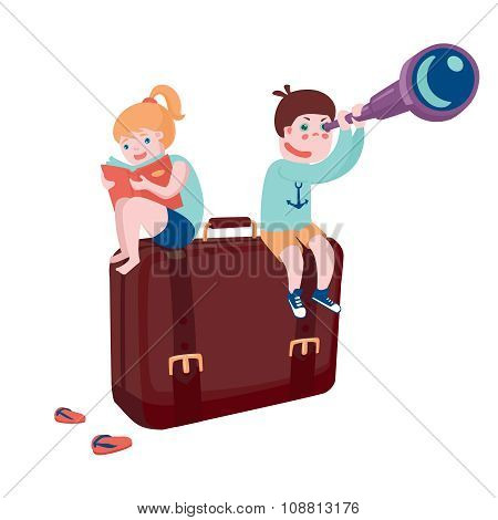 Boy and girl sitting on suitcase