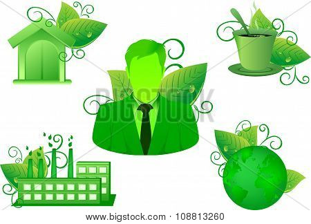 green Environment Nature leaf icon set have business home coffee and industrial factory vector green