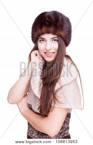 Girl With Russian Type Winter Hat