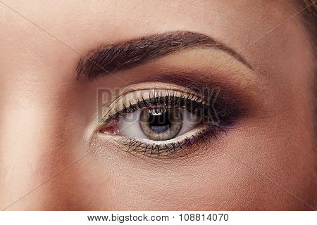 Close Up Eye With Pefect Make Up